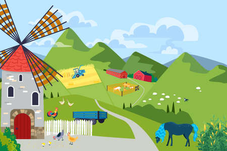 Landscape farmhouse barnyard with windmill, picturesque mountain area, tractor harvesting farm crop flat vector illustration banner.