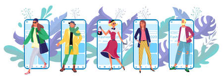 Modern technology mobile phone application, vogue tiny character, smartphone fashion app store flat vector illustration, isolated on white.