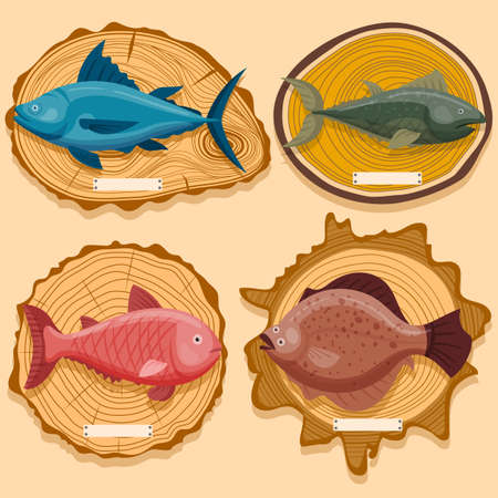 Concept ocean fish on wooden exhibition board, delicious sea minnow, cutting blackboard flat vector illustration, isolated on beige.