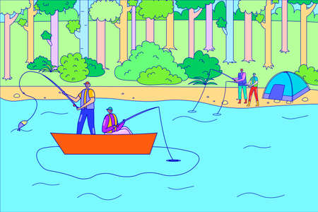 People character together fishing hobby, forest relaxing time, friend catching fish from boat, outdoor hiking flat line vector illustration.