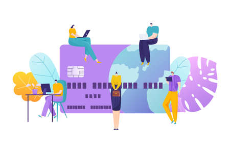 Modern remote work, tiny character freelancer people personal computer, debit card flat vector illustration, isolated on white. Illusztráció