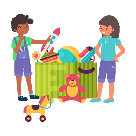 Cheerful kid boy, girl playing toy together, box carton with children plaything flat vector illustration, isolated on white.