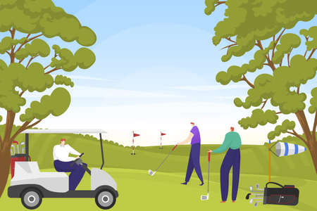 Rich entertainment people character together play golf game in green park, physical activity male hit putter hole flat vector illustration. Illusztráció