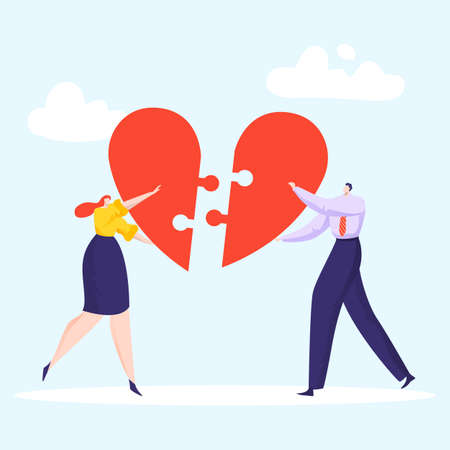 Lovely couple make up puzzle heart, loving woman and man hand hold part cardiac icon flat vector illustration, isolated on blue.
