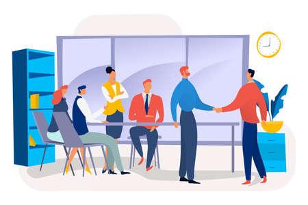 Teamwork business make decision sign job contract, businessman handshake entrepreneur flat vector illustration, isolated on white. Illusztráció