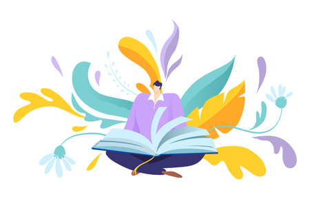 Man character reading book lotus position, male hold big publication textbook, obtain information flat vector illustration, isolated on white.