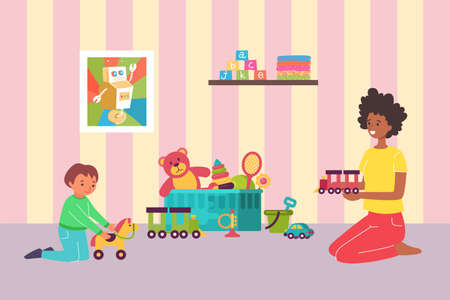 Lovely mother playing with little kid son, mom together children funny time spent, room big toy box flat vector illustration. Illusztráció