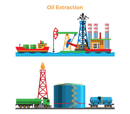 Banner extraction and oil processing, petroleum production service modern energy storage flat vector illustration, isolated on white.
