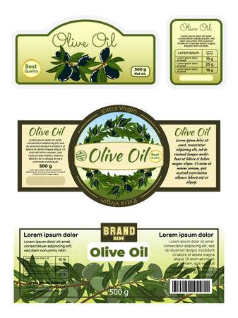 Advertising poster olive oil label, sticker ads virgin butter foodstuff, oliva tablet flat vector illustration, isolated on white.