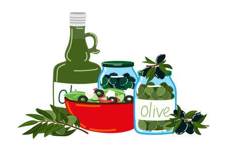Oliva product foodstuff icon, food cooking salad, european italian olive oil flat vector illustration, isolated on white.
