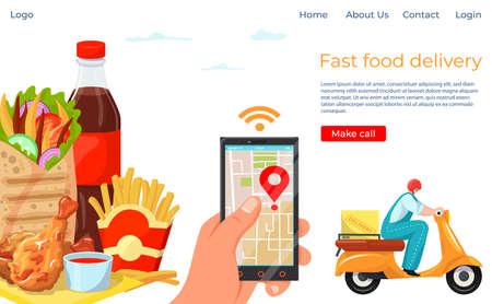 Fast food online delivery service landing website banner, order foodstuff company template banner flat vector illustration.