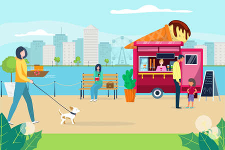 Lovely people walking in quayside park, character woman stroll little dog, dessert wagon ice cream flat vector illustration. Illusztráció