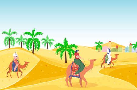 Travel outdoor hot desert people character riding camel, arabian travel hot vacation, oriental landscape flat vector illustration. Illusztráció