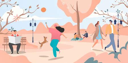 Lovely autumn urban garden place, cheerful people walking spring morning park, banner stroll area flat vector illustration. Illusztráció