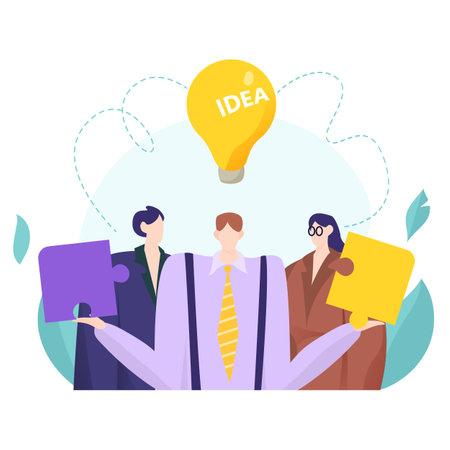 Teamwork businessman hold creative puzzle detail, company work people together decision idea flat vector illustration, isolated on white. Illusztráció