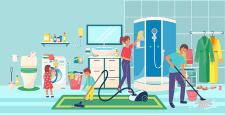 Hardworking family general cleaning bathroom toilet place, people together cleanup shower cabin, floor purification flat vector illustration.