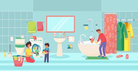 Lovely friendly family preparation sleep in bathroom, father wash children kid, mother with child laundry flat vector illustration. Illusztráció