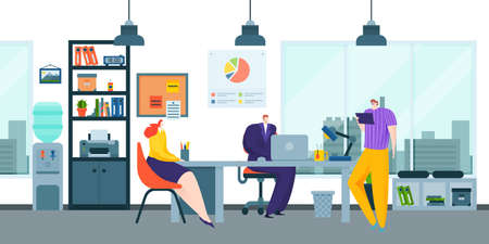 Colleague people business teamwork, office space worker creative ponder idea, industry thought brainstorming flat vector illustration.