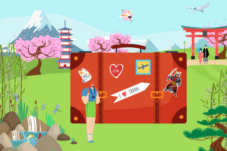 European tiny traveler male, vacation trip to japan country web banner, big tourist suitcase oriental landscape flat vector illustration.