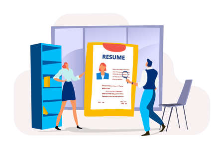 Businesswoman hold summary profile, male human resources specialist view employee resume flat vector illustration, isolated on white.