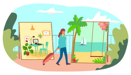 Hard worker woman character dream about vacation tropical country, office employee female flat vector illustration, isolated on white. Illusztráció