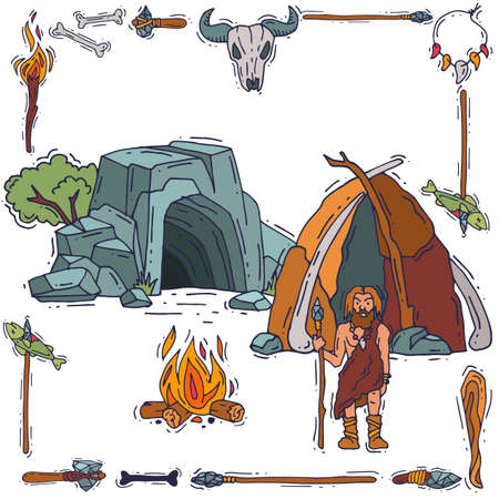Caveman character standing near cave with tool, household item, banner old ancient people flat vector illustration, isolated on white.