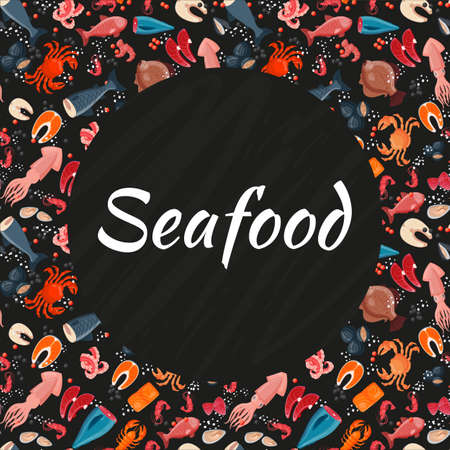 Seafood seamless background pattern, banner sea product foodstuff icon stuff flat vector illustration, advertisement wrapping template.