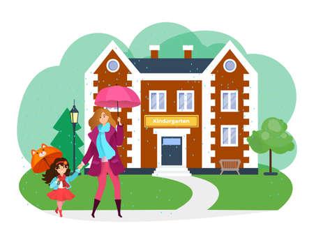 Lovely mother hold daughter hand, children girl with mom go suburb kindergarten flat vector illustration, isolated on white.
