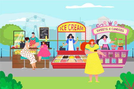 Ice cream sweetness candy, city food street market, amusement park counter store with organic food goodies flat vector illustration.