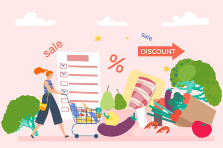Woman character push grocery cart, online store buy product list, discount good sale shop, foodstuff supermarket flat vector illustration.