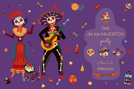 Mexican people together in skeleton suit playing guitar and sing, invitation card banner, celebrate day of dead flat vector illustration.
