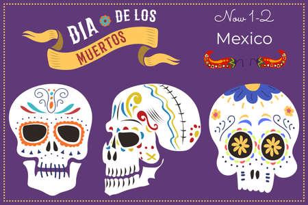 Invitation card banner, celebrate day of dead in mexico three skull, celebrating postcard dia de los flat vector illustration.