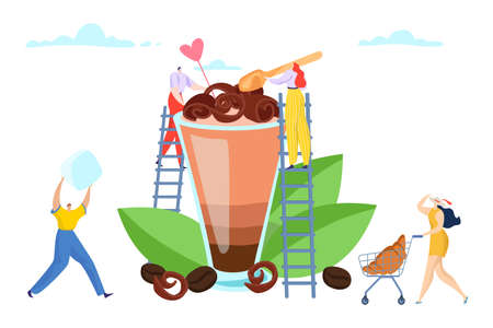 People tiny character together start with dessert coffee drink, sweetness smoothies ice cream flat vector illustration, isolated on white.