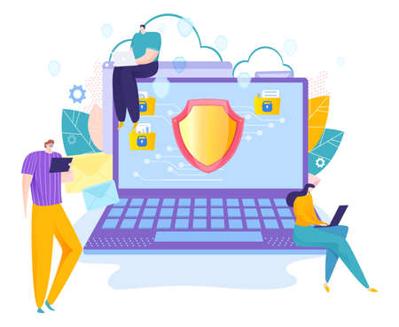 Programmer developer tiny character people laptop gadget, online device protect antivirus flat vector illustration, isolated on white.