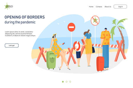 Opening country border during coronavirus pandemic, people arrive tropical place landing web banner, flat vector illustration.