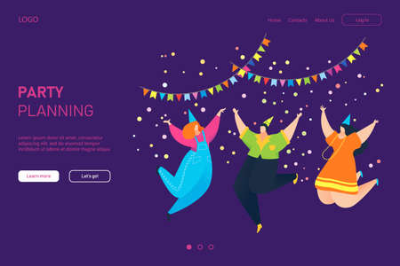 Celebrate party planning landing web banner, people character together jumping, birthday template banner flat vector illustration.