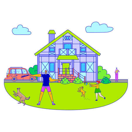 Friendly family people stroll domestic animal dog, character man and girl play pet hound line flat vector illustration, isolated on white.