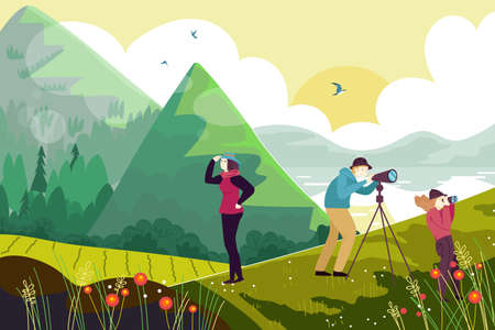 Outdoor hiking people character watch bird mountain and lake, ornithologist family together observe fowl flat vector illustration. Illusztráció