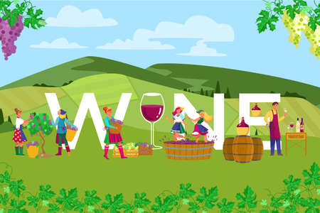 Grape farm field production alcohol wine, group farmer together work countryside fresh air landscape flat vector illustration.