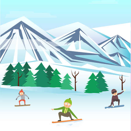 People children boy together skiing snowboarding, winter snow picturesque mountain, cheerful child kid flat vector illustration. Illusztráció