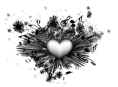 musical heart theme Vector