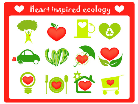 rubbish cart: heart inspired ecology icons