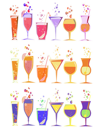 collection of 3 set of high fashion cocktails Stock Vector - 4481625