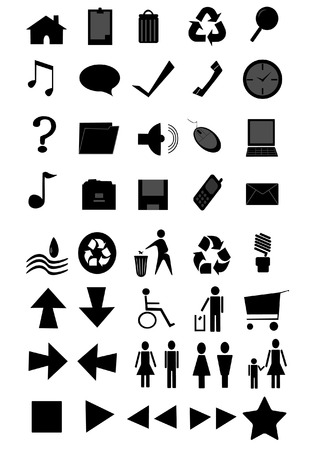 collection of some basic computer icons Vector