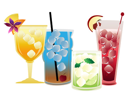 a set of cool and refreshing cocktail images Vector