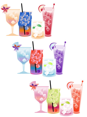 a collection of stylish and colorful cocktails Vector