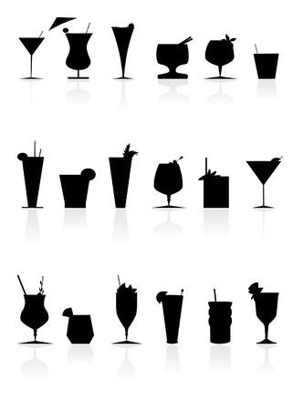 a collection of cool backwhite cocktails  Ilustração
