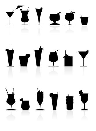 fashion bril: een verzameling van leuke terug  wit cocktails Stock Illustratie