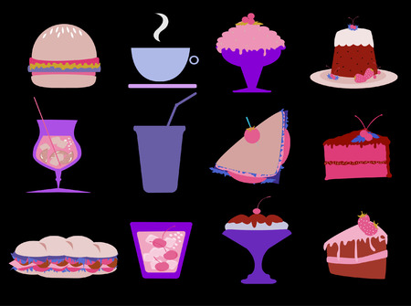 a collection of delicious food and drink Vector