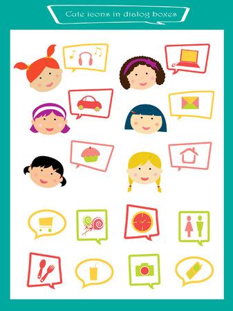 a set of cute children learning icons Illustration